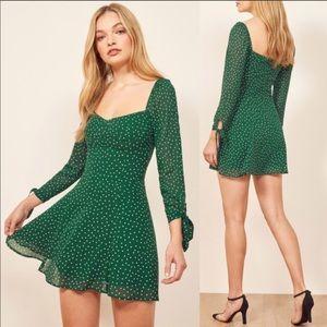 REFORMATION Beatrice Green White Polka Dot Dress 4